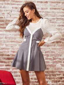 SBetro Grid Frill Trim 2 In 1 Dress