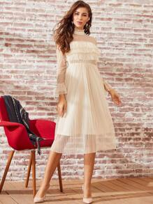 SBetro Frilled Neckline Pleated Sheer Mesh Dress