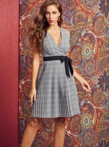 SBetro Plaid Pleated Hem Belted Sleeveless Dress