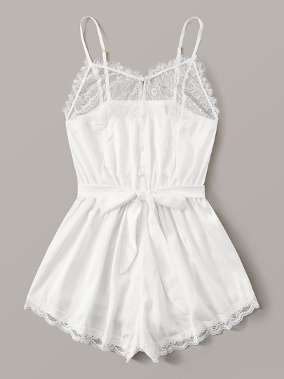 Contrast Lace Satin Romper With Belt
