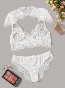 High Neck Floral Lace Sheer Lingerie Set