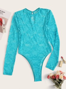 Floral Lace Sheer Long Sleeve Teddy Bodysuit