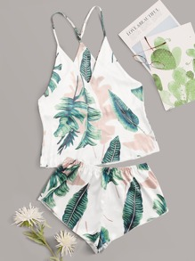 Tropical Satin Cami With Shorts