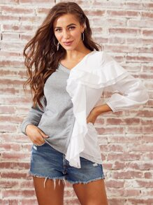 SBetro Layered Ruffle Trim Two Tone Mixed Media Sweatshirt