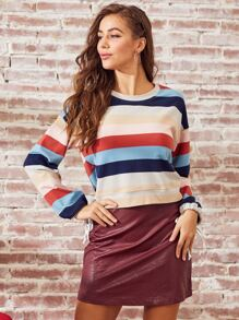 SBetro Drawstring Cuff Colorblock Striped Sweatshirt