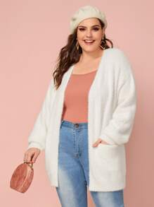 Plus Fluffy Knit Dual Pocket Cardigan