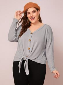 Plus Tie Front Button Detail Sweater