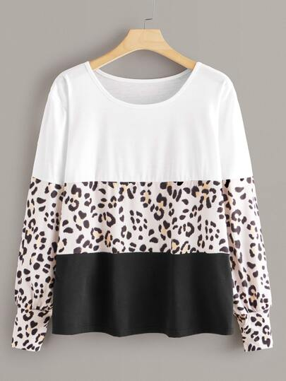Plus Colorblock Leopard Print Tee