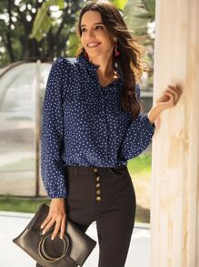 Notched Frill Trim Polka Dot Blouse