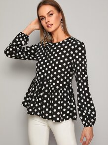 Polka Dot Round Neck Peplum Blouse