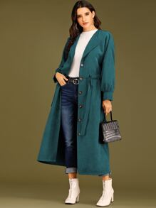 Button Front Self Tie Longline Trench Coat