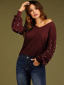 Pearls Decoration Bishop Sleeve Sweater