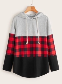 Contrast Plaid Panel Drawstring Hoodie