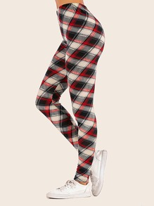 Plaid Pattern High Waist Leggings