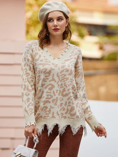 V-neck Frayed Trim Leopard Sweater