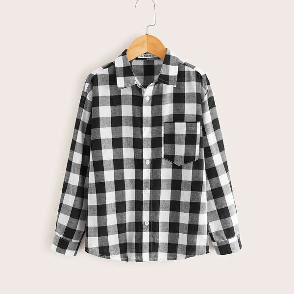 Boys Buffalo Plaid Print Pocket Button Front Shirt, Black and white