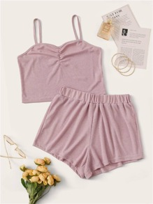 Plus Rib Solid Cami Top With Shorts