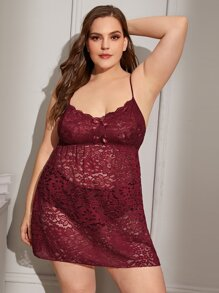 Plus Floral Lace Dress With Thong