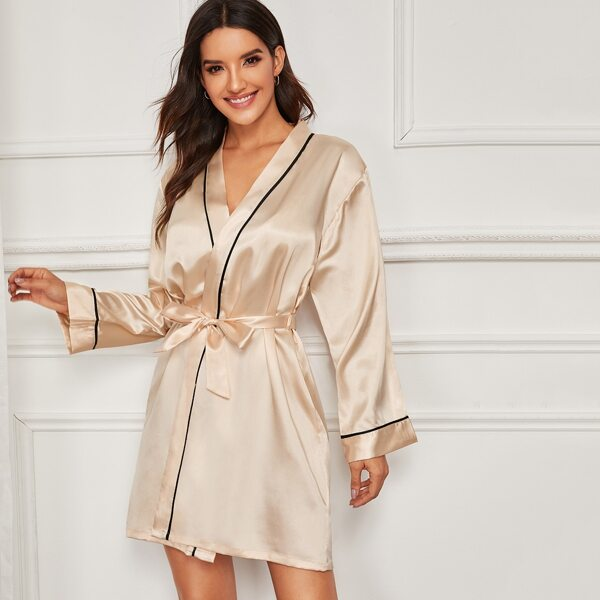 Contrast Binding Satin Robe With Belt, Gold