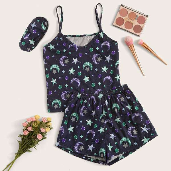 Galaxy Print Cami PJ Set With Eye Cover, Navy