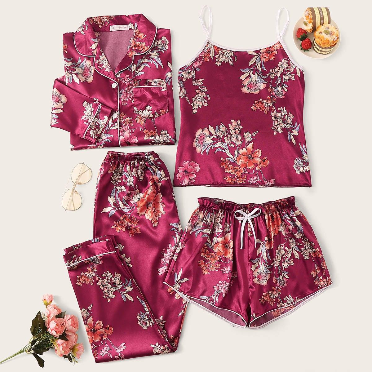 Атласная пижама с цветочным принтом 4шт