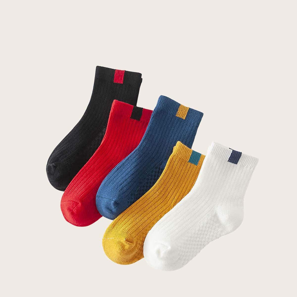 Kleinkind Kinder Socken mit Zwei Ton Mustr 5 Paare