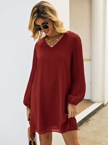 V Neck Pleated Bishop Sleeve Tunic Dress