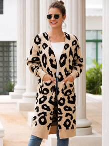 Leopard Open Front Dual Pocket Cardigan