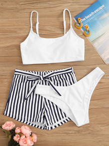 3pcs Striped Knot Front co-rod Bikini Set