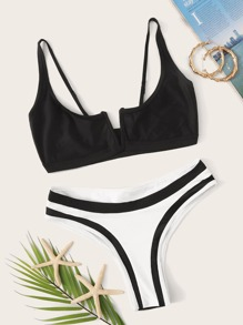 Two Tone Top With High Cut Bikini Set