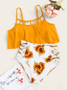 Flounce Ladder Cut-out Top With Sunflower Print Bikini Set