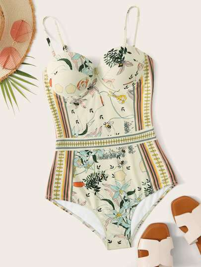 Floral Print Underwire One Piece Swimwear