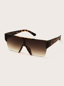 Leopard Pattern Flat Top Sunglasses With Case