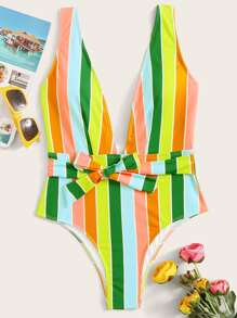 Multi-color Striped Knot Front One Piece Swimwear