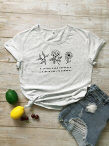 Letter & Floral Graphic Tee