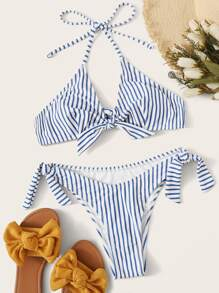 Striped Random Knot Front Bikini Set