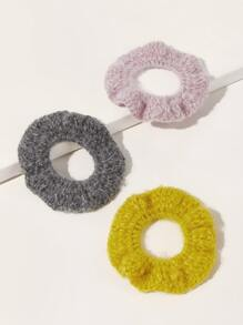 3pcs Solid Knit Scrunchie