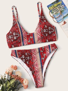 Tribal Random Print Bikini Set