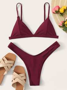 Solid Spaghetti Strap Top With High Cut Bikini Set