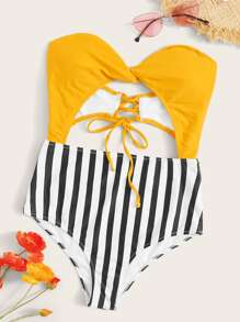 Striped Lace Up Back One Piece Swimwear