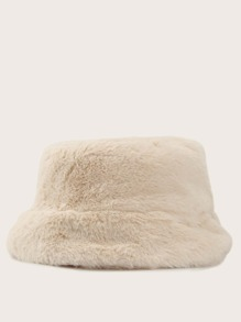 Solid Fluffy Bucket Hat