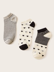 3pairs Heart & Striped Pattern Socks