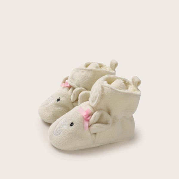 Baby Girl Elephant Shaped Velcro Strap Boots, Beige