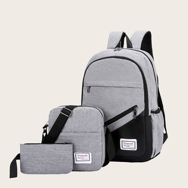 3pcs Men Backpack With Crossbody Bag, Grey