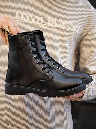 Guys Letter Embossed Combat Boots