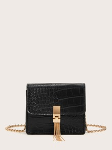 Metal Tassel Decor Croc Embossed Chain Bag