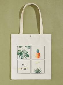 Plant Graphic Canvas Book Bag