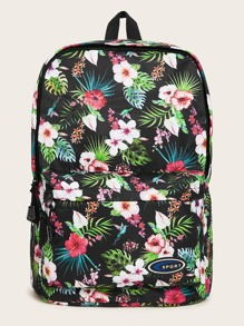 Floral Graphic Pocket Front Backpack