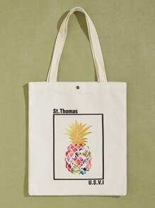 Pineapple Graphic Canvas Book Bag
