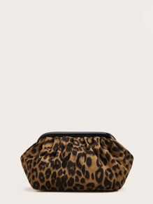 Ruched Detail Leopard Crossbody Bag